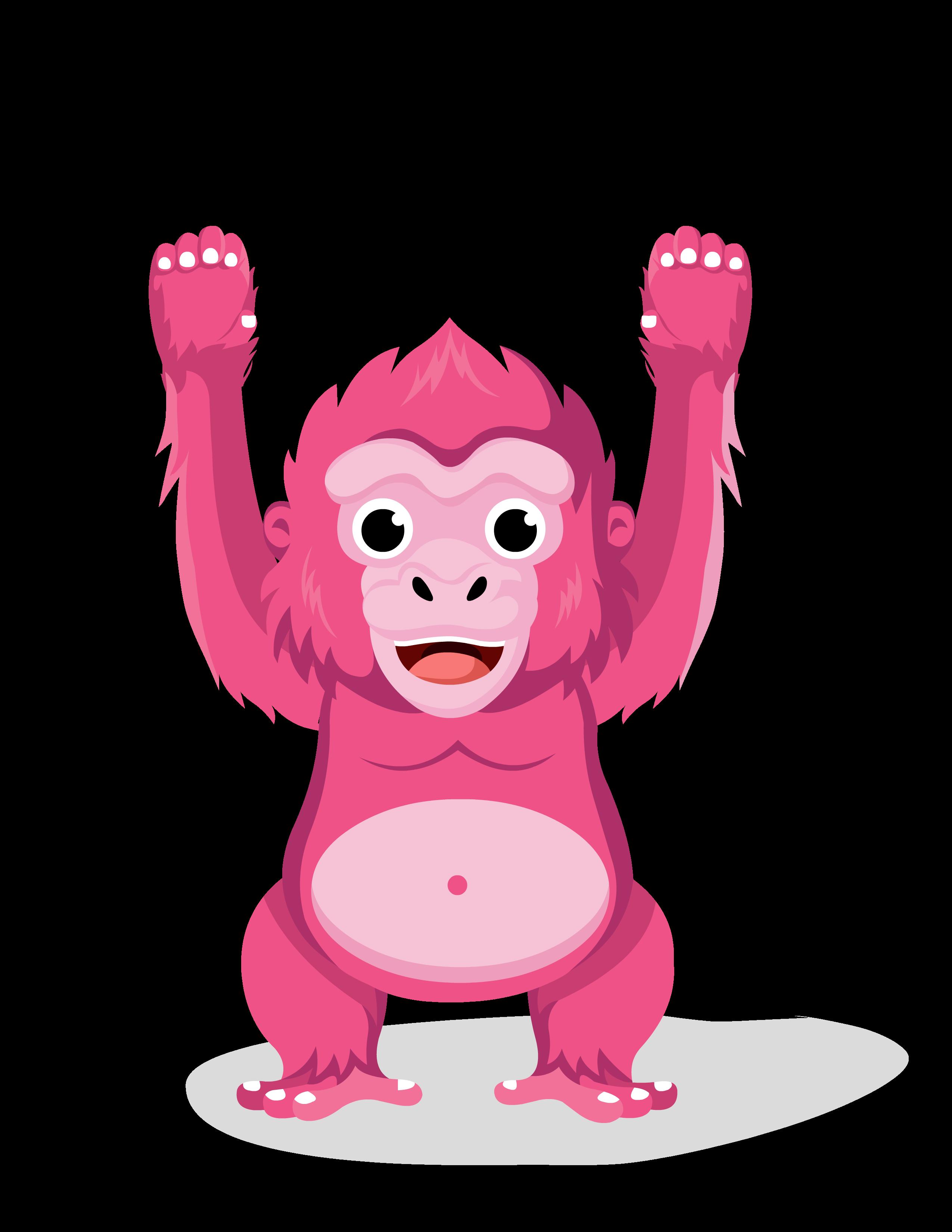 hands up pink gorilla